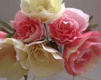 Wedding Crepe Paper  Peony Bouquet