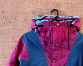 Men's 80s vintage ANORAK Jacket . Outerwear unisex Spring Windbreaker .