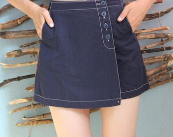 Women's skirt shorts vintag,blue, buttons Cache wear 100% cotton