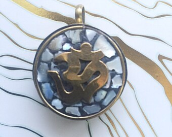 Tibetan Brass and Mother of Pearl OM Pendant