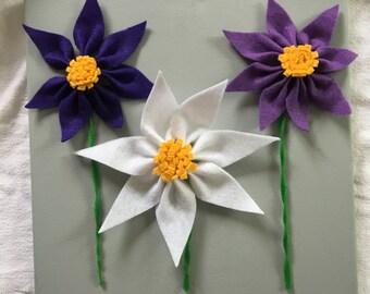 Three 3D Felt Flowers on Canvas