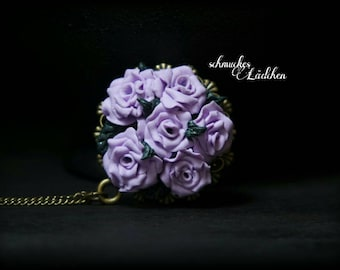 "Antique bronze necklace Purple Rose ""Rosazee"""