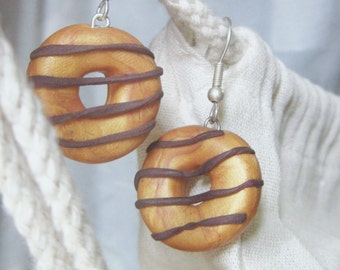 Chocolate donuts french hook earrings