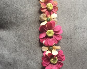 Pink & Off White Flowerkrown- Small length