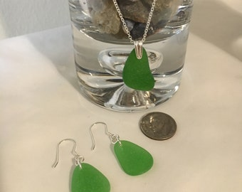 Sterling Silver Genuine Sea Glass necklace and earrings set