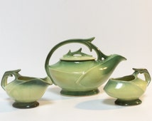 McCoy Tea Set, 1940's Green Leaf McCoy  Teapot, Creamer, Sugar.