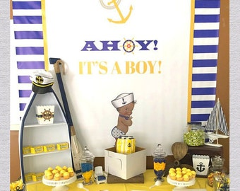 Nautical Baby Shower Backdrop, Ahoy Its A Boy, Navy and Red, Navy and Yellow, Anchor and Stripes