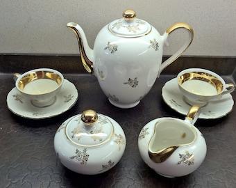 Vintage Bavarian Porcelain Coffee Tea for Two Set, including Sugar Bowl and Creamer