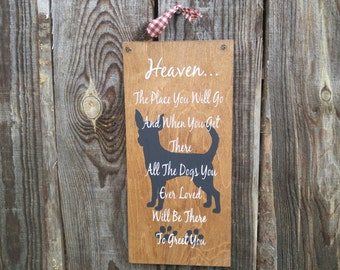 Heaven dog sign, dog memorial sign, In memory dog sign, bereavement gift, RIP dog sign