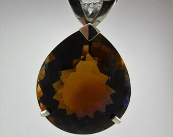 106.7 ct. Golden Purple Ametrine & Sterling Silver Pear Shape Pendant