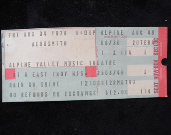1978 Aerosmith Concert Ticket Alpine Valley Music Theatre  Collectible Rock n Roll Band