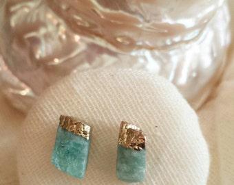 Amazonite Pebble Stud Earrings