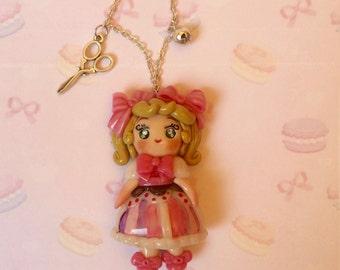 Necklace Kawaii Pink Lolita Nana - Corn dough - Handmade by Letyobaachan