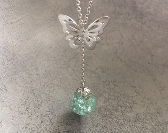 Double Butterfly Mint Green Silver Leaf Flakes Sphere Drop Pendant, Resin Necklace, Resin Jewelry