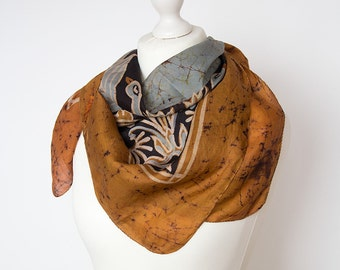 "Square vintage scarf, retro scarf, silk scarf, fabric women scarf shawl 88x88cm / 34x34"" abstract"