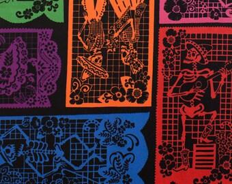 Alexander Henry Fabric | Folklorico | Mi Vida En Papel | Halloween Fabric | Dia De Los Muertos Fabric | Black Fabric | Mexican Fabric