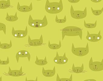 Kitty Cat Fabric   Cat Material   Lizzy House   Catnap   Green Fabric   Cute Cat Fabric   Cute Animal Print   Kittens   Kitties   Cat Decor