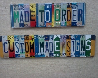 License Plate Sign per character.Unique Handmade Personalized Gift Automobile enthusiast,mancave,child's name,dads