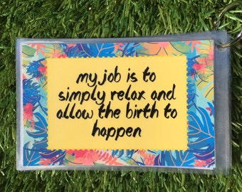 26 Affirmations For Labour Postcards, Baby Shower Gift, Blessingway Present, Inspirational Birth Cards, Doula Cards, Laminated