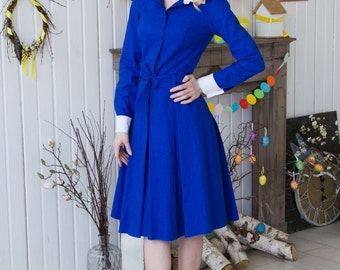 Cornflower blue linen dress