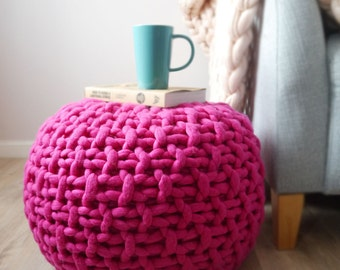 Pink knitted pouf ottoman footstool - bright pink pouffe ottoman - pink chunky knit footstool - Lauren Aston Designs Footstool
