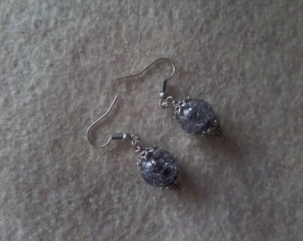 Blue and silver glass beaded  earrings