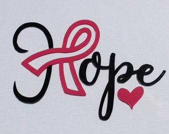 "Breast cancer awareness decal. Hope with pink ribbon and heart. Approx. 3-1/2"" long and 2"" high. Made from Oracal 651 vinyl."