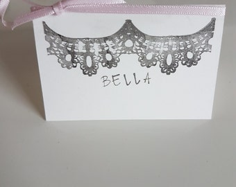 Lace effect name place card