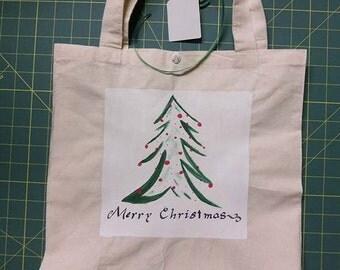 Handpainted Christmas Gift Bag - Christmas Tree