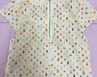 Floral & Insect Print Silk Top