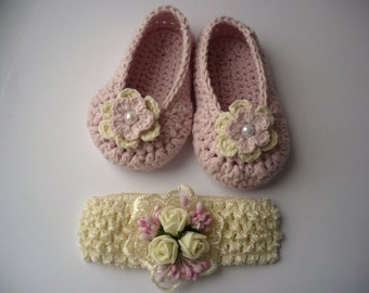 Crochet shoes and Headband set, Baby Girl Booties with Headband, Crochet Baby Girl booties, Crochet Baby girl shoes