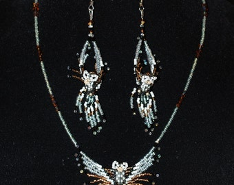 Small Owl Necklace & earring Set