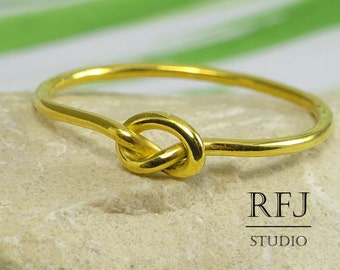 Yellow Gold Plated Knot Ring, Friendship Ring, 24K Gold Plated Sterling Silver Love Promise Ring, Knotted Ring, Bridesmaid Gift, Knot Ring