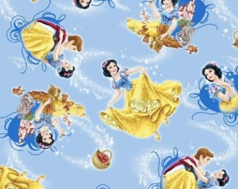 """Disney Fabric - Disney Princess Snow White and Prince Charming & Animals Toss 100% cotton Fabric by the yard 36""""x43"""" (E39)"""