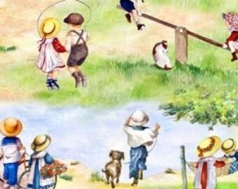 "Elizabeth's studio: Vintage Style - Childhood memories Scenic  100% cotton fabric by the yard 36""x44"" (C15)"