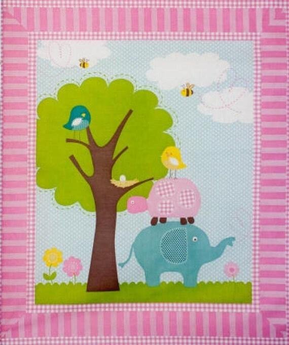 Nursery fabric panel sweet meadow elephant turtle bird for Bird nursery fabric