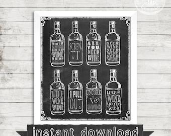 DIY PRINTABLE, Wine Bottles, Chalk print, Wine, Wine Decor, Wine Sayings, Fun, Wine Bar, Wine Wedding, Winery, Wine Decoration, Wine Theme