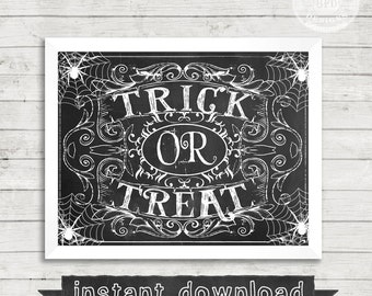 DIY PRINTABLE, Halloween, Trick or Treat, Printable, Halloween Chalkboard Sign, Instant Download, Halloween Printable