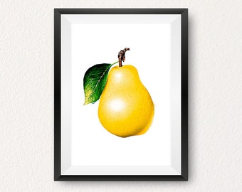 Pear, Pear print, Instant download, Fruit print, Kitchen wall art, Yellow print, Modern print, Home decor, Wall art