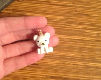 white teddy bear charm