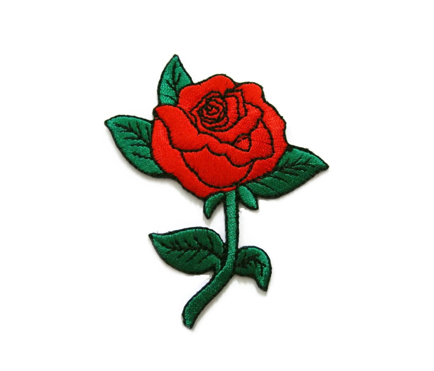 Red roses tattoo biker embroidered applique iron on patch