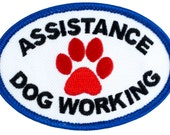 """Assistance Dog Working - SD-006 Service Dog Embroidered Patch - 3"""" Wide X 2"""" Tall"""