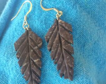 Leaf Dangly Coconut Earrings