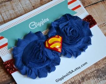 Superman Superhero Chiffon Flower Headband - Kids Costume - Super hero - Dress Up - Birthday Party Favors - Super Girl Red Blue Baby