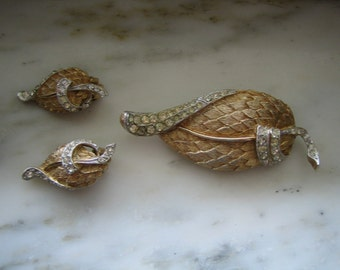 Vintage Gold and Silver Tone Rhinestone Leaf Pin or Brooch & Clip On Earrings Set