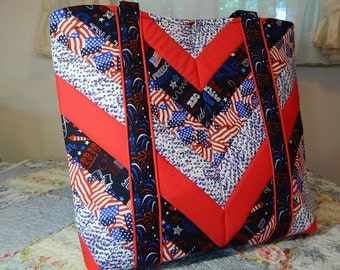 Red, White, and Blue Quilted Tote Bag