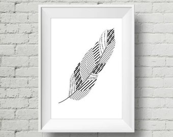 Geometric Pattern black and white feather Print A4