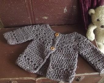 Handmade Fair Isles baby girl cardigan