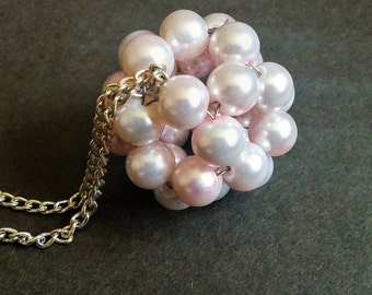 Pale Pink Pearls - Beaded Bead Necklace