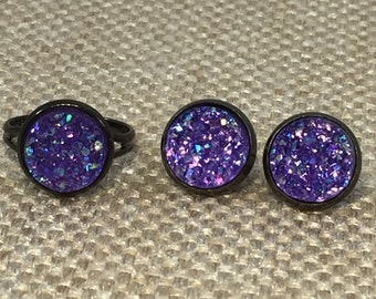 Purple Druzy Earring and Ring Set - Bridesmaid Gift - Flower Girl Gift  - Drusy Jewelry - Faux Druzy - Druzy Earrings - Adjustable Ring